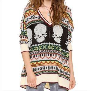 Jen's Pirate Booty Hobo Blues Skull Fuzzy Sweater